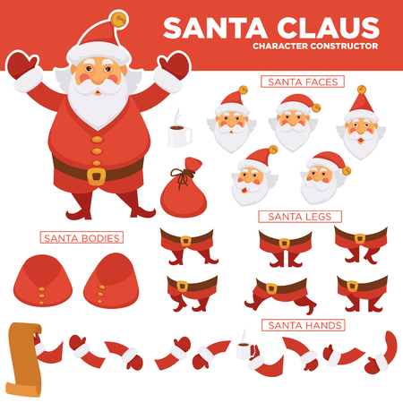 Santa Clause character constructor with spare bearded face, legs in boots, plump body, hands in mittens, long paper list of kids isolated cartoon flat vector illustration on white background. Illustration