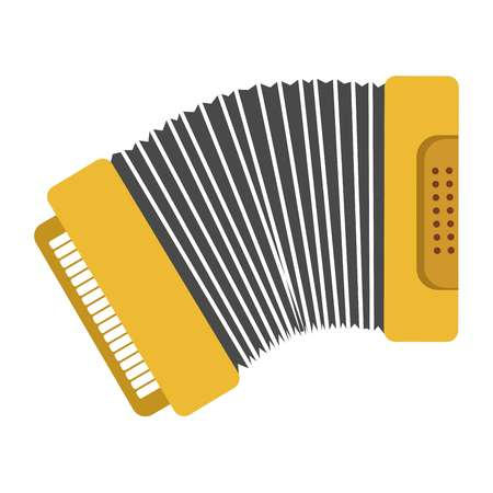Bright yellow harmonic with keys and buttons panels Illustration