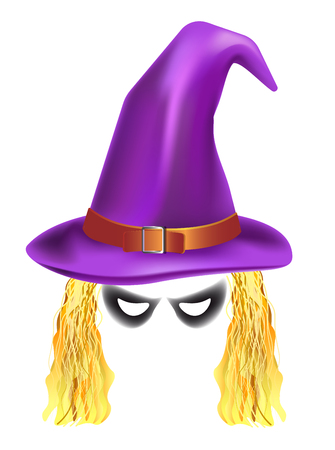 Video chat witch face selfie effect photo mask vector icon template
