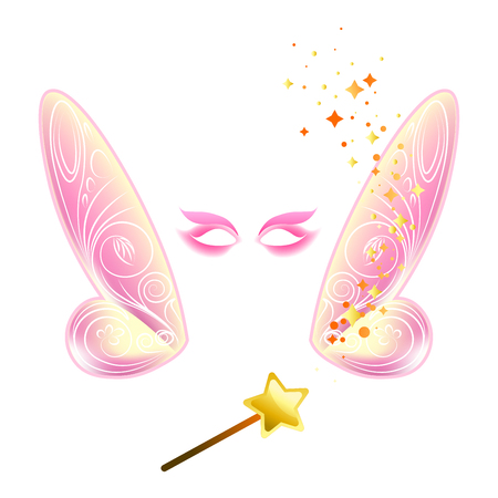 Video chat fairy wings face selfie effect photo mask vector icon template Illustration