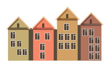 Row of town houses with attics and colorful walls