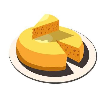 Cheese head slice lump diary milk farm product food vector isolated icon