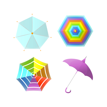 Umbrella parasol side and top view rainbow color vector flat isolated icons Illustration