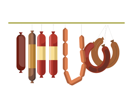Sausages meat counter display or butcher shop gastronomy products store vector