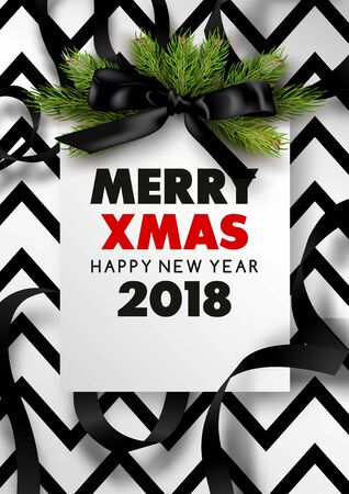 Merry xmas or Happy New Year 2018 poster or web banner design template. Greeting card with black bow with black ribbon fur tree and copy space. Vector illustration.