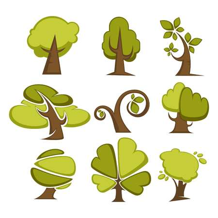 Set of green trees and tree leaf icons or logo templates