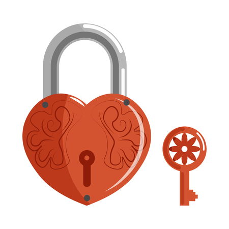 Decorative lock in shape of heart with pattern and key
