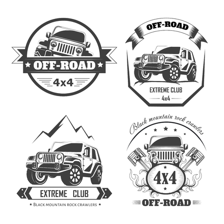 Off-road 4x4 extreme car club logo templates. Vector symbols 向量圖像