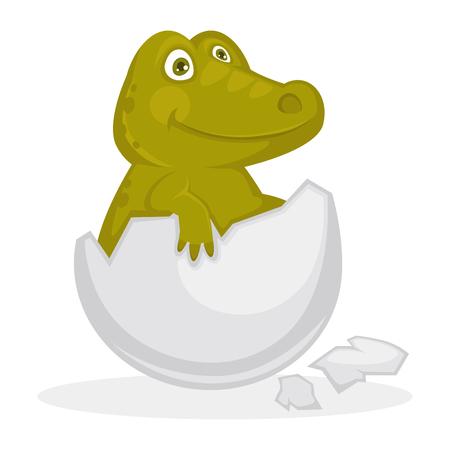 Bebé cocodrilo dentro de cáscara de huevo agrietada ilustración aislada Ilustración de vector