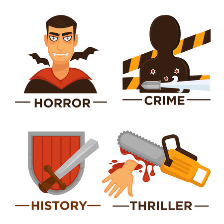 Vector flat isolated symbols set for cinema or channel movie genre tag. Movie genre icons. Illustration