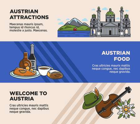 Austria tourism travel landmarks and Austrian famous sightseeing attractions vector banners