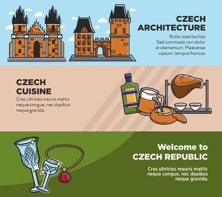 Tschechische Reise-Tourismus-Sehenswürdigkeiten und Kultur berühmte Sehenswürdigkeiten-nationale Küche-Vektor-Banner