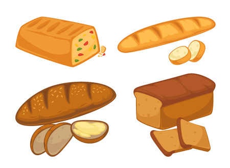 Bread flat icons set for bakery shop or patisserie.