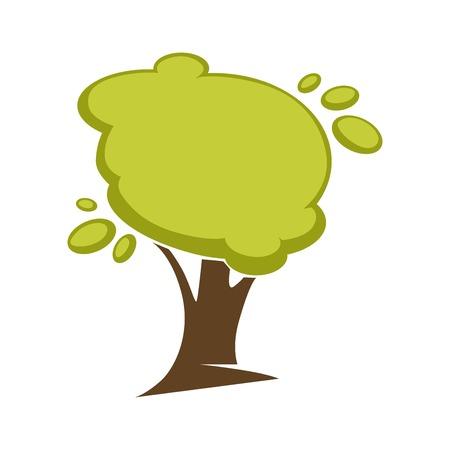 Árbol verde y hoja de árbol icono o plantilla de logotipo.