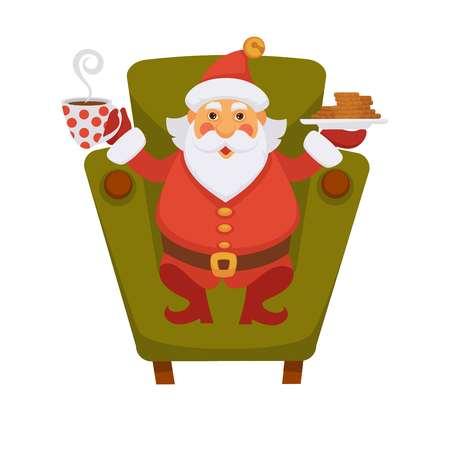 Icona di vettore del personaggio dei cartoni animati di vita di Natale di bere il tè e biscotto di Babbo Natale Vettoriali