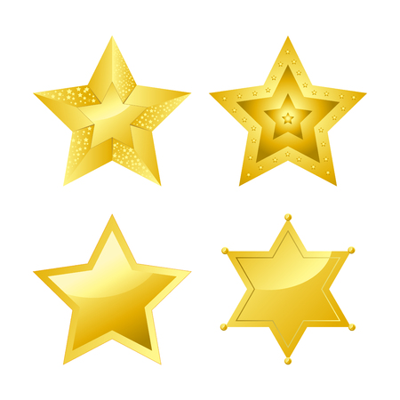 Shiny bright five-pointed stars of several designs with smooth surface