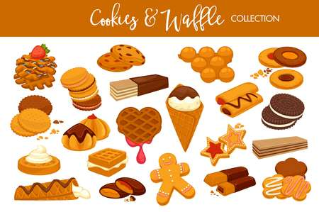 Delicious cookies and waffles collection with chocolate and cream