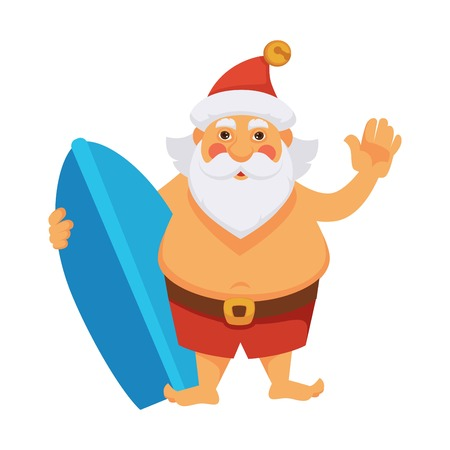 Santa on summer ocean vacations cartoon character. Santa with surfboard on holidays in daily life routine activity. Vector isolated flat icon for Christmas, New Year greeting card design Illustration