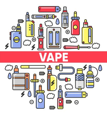 Vape shop electronic cigarettes and smoking accessory icons vector poster