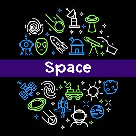 Space technology poster of cosmic rockets and satellites and astronaut spaceships. Vector outline icons of telescope, space galaxy and planets, alien ufo and moon lunar