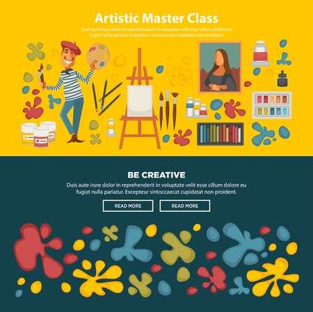 eslogan: Cartel promocional de la clase maestra artística con slogan creativo