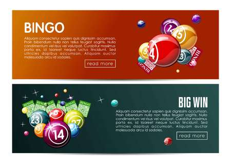 Bingo lotto lottery web banners templates set.