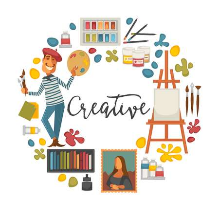 Creative poster with artist and tools to paint Illustration