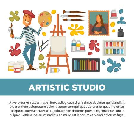 Artistic studio poster with all tools to paint and draw Stock Illustratie