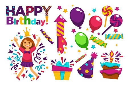 postcard box: Happy Birthday greeting card or postcard gift template design.