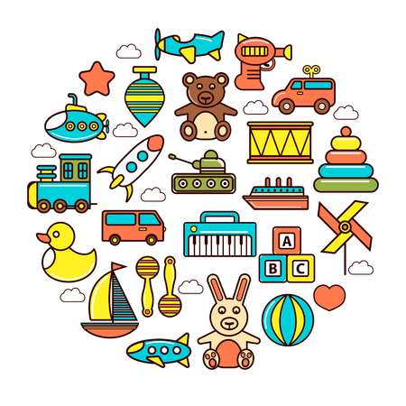 Kids colorful plastic and soft toys in circle Illustration