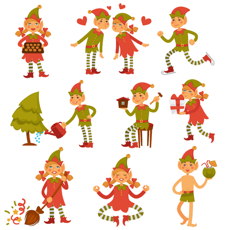 Christmas male and female elves in festive clothes Illustration