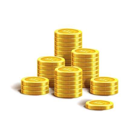Golden coins pile stacks