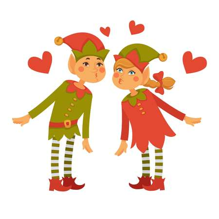 Male and female elves lean to kiss each other