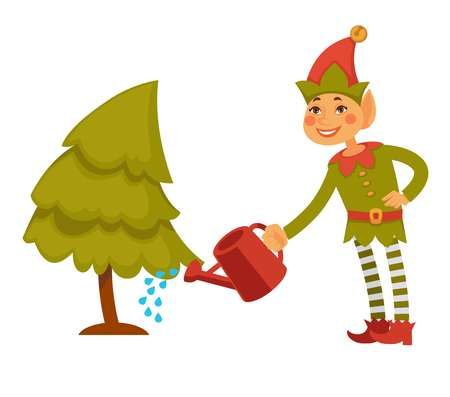 Christmas elf in festive clothes waters conifer tree Illustration