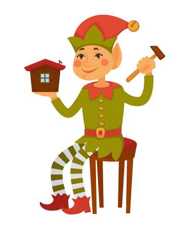 Elf sits on stool and builds toy house Illustration