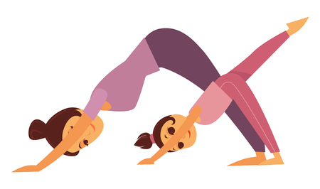 Mother and daughter perform yoga exercises Illustration
