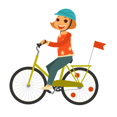 Little redhead girl in helmet rides bicycle with flag