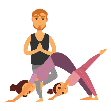 Family does yoga exercises together Illustration