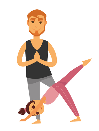 Father and daughter perform yoga exercises