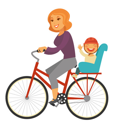 Mother rides bicycle with baby boy on special seat