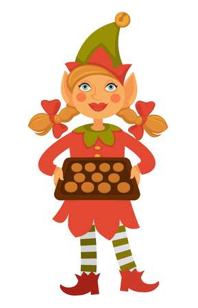Girl elf in cone hat holds tray full of cookies