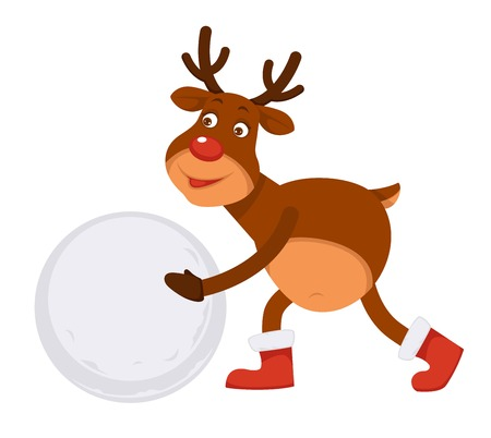 Funny Christmas Polar deer in boots makes snowman Illustration