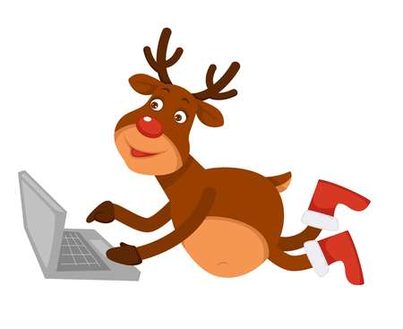 Christmas polar deer in boots lies and uses laptop