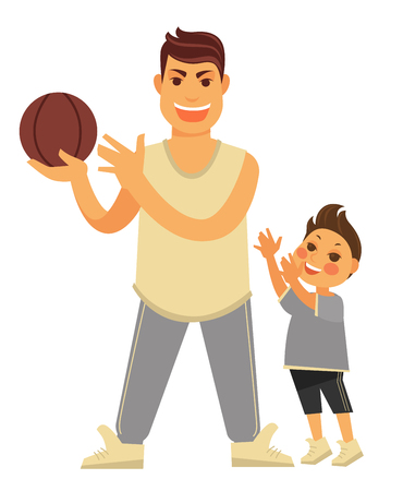 Father plays basketball with young son in sportswear