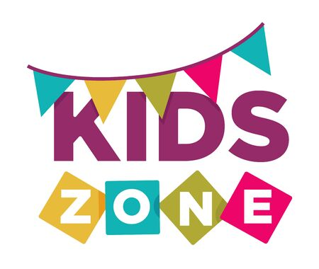 Kid zone playground or children education calssroom vector letters flags icon Фото со стока