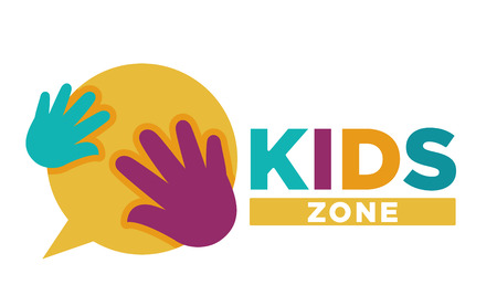 Kid zone playground or children education calssroom vector letters hands icon