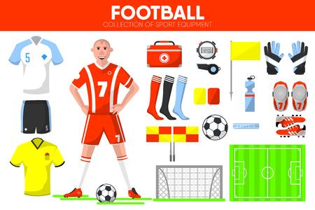 arquero de futbol: Conjunto de iconos de vector de accesorio de ropa de jugador de juego de fútbol equipo de fútbol de deporte Vectores