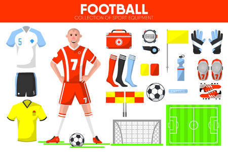 Football sport equipment soccer game player garment accessory vector icons set