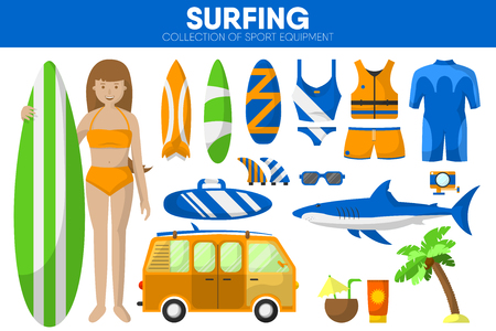 Surfing sport equipment surfer surfboard garment clothing accessory vector icons set