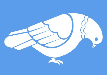 Vector illustration of simple white pigeon.